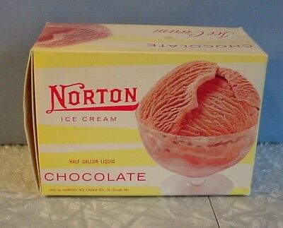 RARE! 1958 NORTON CHOCOLATE ICE CREAM BOX St Joseph Missouri MO 1/2 Gallon