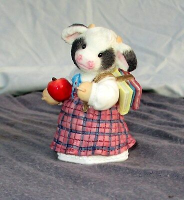 Enesco Marys Moo Moos Cow Figurine 1996 Making The Grade Student Gift 3""