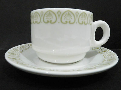 Bristile Cup & Saucer green heart shaped pattern 1977/84