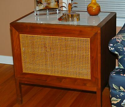 Vintage Speaker Cabinet/end Table - Walnut/cane/glass - Beautiful!! Mid-Century