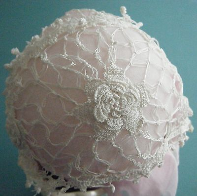 Antique Finely Worked Irish Rosettes Crochet Lace Baby's Bonnet