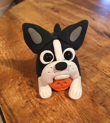 Adorable Boston Terrier With Pumpkin Figurine - OOAK - Polymer Clay