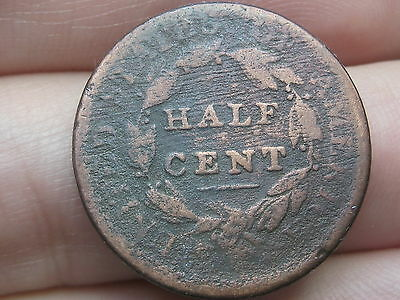 1809 Capped Bust Half Cent- Scarce Type Coin, Rotated Reverse Mint Error