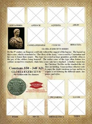 Constans GLORIA EXERCITVS 1 Banner Roman Ancient Coin Sheet. With mints.