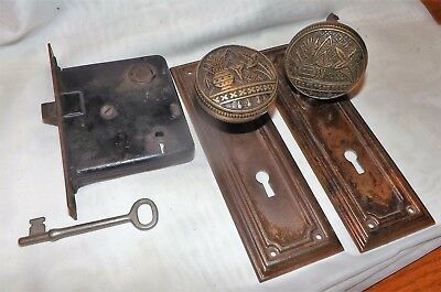 Victorian Brass Eastlake Broken Leaf Pattern Door Knobs Lockset W/ Skeleton Key