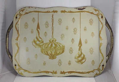 Vtg Midcentury Metal TV Lap Tray w Handles Gold Christmas Ornaments Scallop Edge