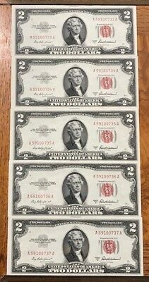 1953-A $2 (5) Consecutive Red Seal Notes Gem Uncirculated