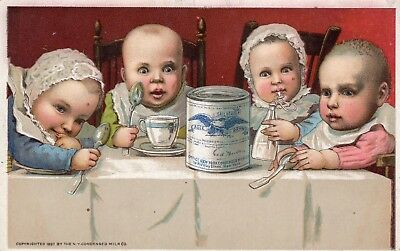 Antique Victorian Trade Card Advertising Eagle Brand Condensed Milk 1897 Babies