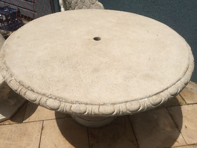 Large Concrete Pedestal Table and 4 Chairs