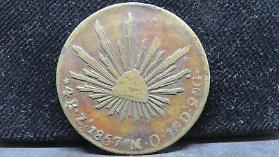 4 Reales Mexico 1857 Zacatecas Zs MO Struck on Brass, CONTEMPORARY CCF
