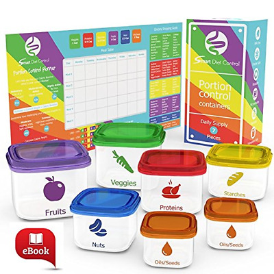 SDC - 7 Piece Portion Control Containers Kit Comparable to 21 Day Fix with Compl