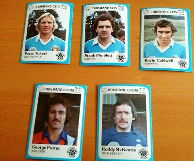 1978 Scanlens Phiilps Soccer League Trading Cards Brisbane City & Lions x 5