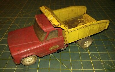 Vintage 1960s Pressed Steel Mini Tonka Jeep Dump Truck 60 JunkYard Parts Repair