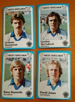 1978 Scanlens Phiilps Soccer League Trading Cards West Adelaide  x 4