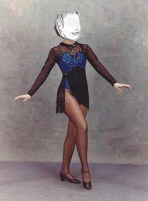 Dance Costume Art Stone Adult Small Royal Blue and Black Tap Jazz