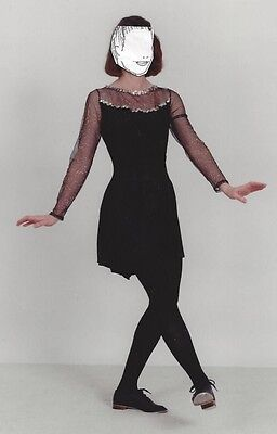 Dance Costume Art Stone Adult Small Black Tap Jazz with sheer sleeves & sequins