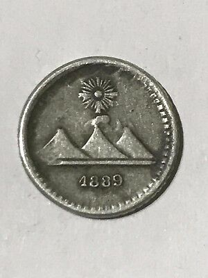 Coin Of Guatemala 1889 - Silver 0.835 - 1/4 Real With 3 Volcanos