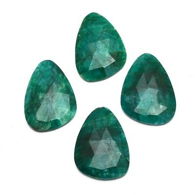4 Pcs Lot of Faceted Dyed Emerald Natural Shape Approx 35x25mm Loose Gemstones