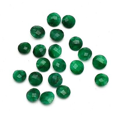 19 Pcs Lot of Faceted Dyed Emerald Round Shape Approx 6mm Loose Gemstones