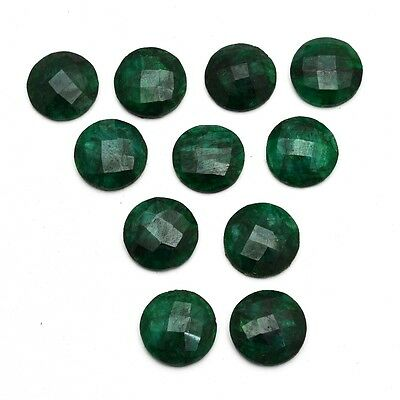 11 Pcs Lot of Faceted Dyed Emerald Round Shape Approx 16mm Loose Gemstones