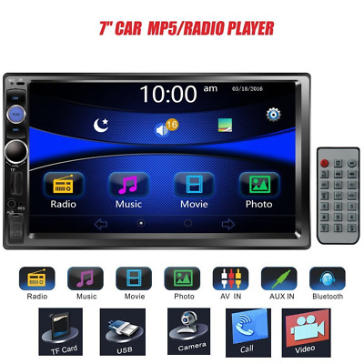 "Regetek 7"" Double DIN Touchscreen In Dash Bluetooth Car Stereo Mp3 Audio 1080P V"