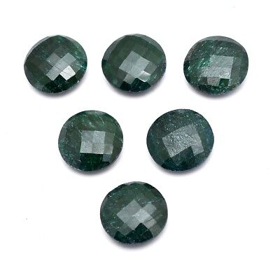 11 Pcs Lot of Faceted Dyed Emerald Round Shape Approx 15mm Loose Gemstones