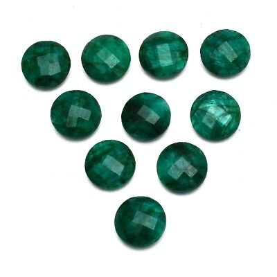 10 Pcs Lot of Faceted Dyed Emerald Round Shape Approx 12mm Loose Gemstones