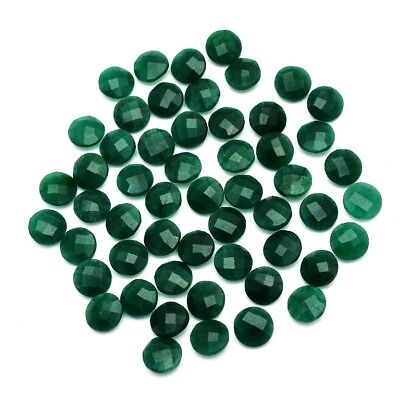 55 Pcs Lot of Faceted Dyed Emerald Round Shape Approx 10mm Loose Gemstones
