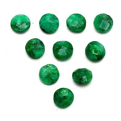 10 Pcs Lot of Faceted Dyed Emerald Round Shape Approx 6mm Loose Gemstones