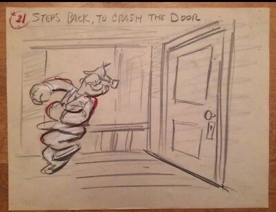 POPEYE the Sailor Original Storyboard Drawing by Famous Studios, 1954