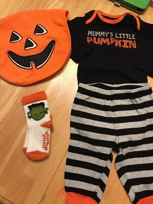 Carter's 0-3 Months Halloween Outfit Bib And Socks