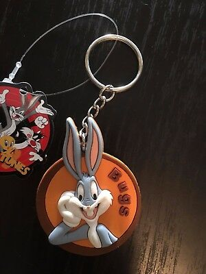 Stocking Stuffer -  Bugs Bunny Medallion Plastic Keychain - Warner Bros.