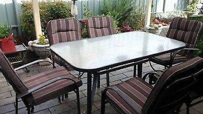 6 Seater Metal Outdoor Setting Glass Topped Oblong Table 1.5m X 95cm 6 Chairs