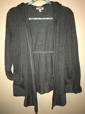Liz Lange Maternity Grey Swing Open Front Hoodie Lightweight Jacket Sz Small