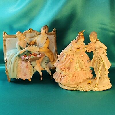 "Dresden Lace Signed Porcelain 6.5"" Figurine Courting Couple x 2 Vintage Antique"