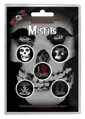 Misfits - 5 x 2.5cm Button Set - Fiend Skull