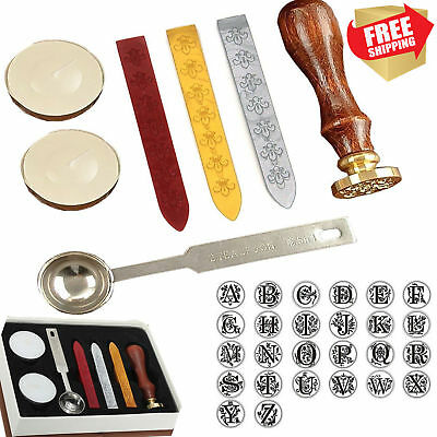 Gift Pro European Retro Wooden Alphabet Letter Initial Wax Seal Stamp Kit Wax
