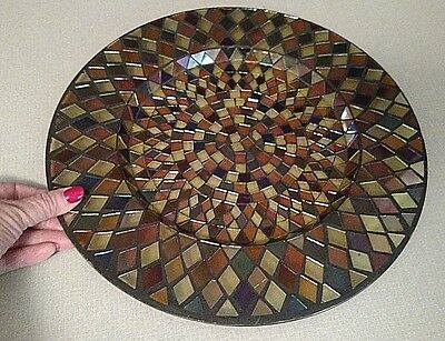 Cut Glass Plate in Brown,Taupe, Gold & Iridescent Sheen Over Entire Plate
