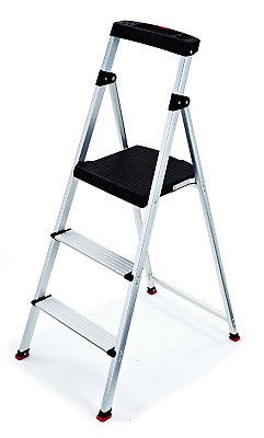 Rubbermaid RMA-3 3-Step Lightweight Aluminum Step Stool with Project Top