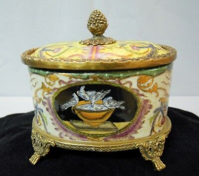 Box Jewelry Tobacco Dove Bird Art Deco Style Art Nouveau Style Porcelain Bronze