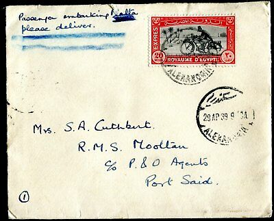 Egypt cover (entire) from HMS Warspite in Alexandria  to UK dated 29AP39