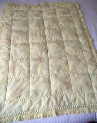Gorgeous Vintage 1960's Quilted Nylon Cot Quilt Comforter Lemon Baby Animals