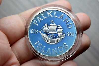 1983 Glowing Blue Tone Silver Proof Crown Coin Falkland Islands 1Oz