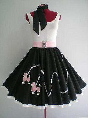 "ROCK N ROLL/ROCKABILLY  ""POODLE"" SKIRT-SCARF S-M. Black/White/Pink."