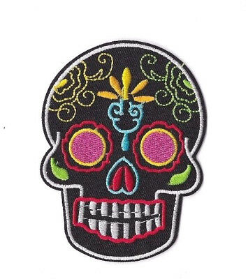 BLACK SUGAR SKULL IRON ON / SEW ON PATCH Embroidered Badge MOTORCYCLE PT183