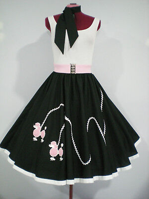 "ROCK N ROLL/ROCKABILLY  ""POODLE"" SKIRT-SCARF L-XL. Black/White/Pink."