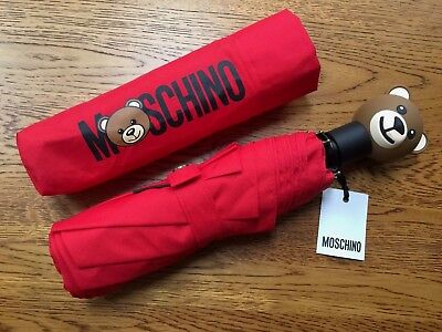 Moschino Red Toy Teddy Bear Automatic Compact Umbrella With Storage Pouch Bnwt