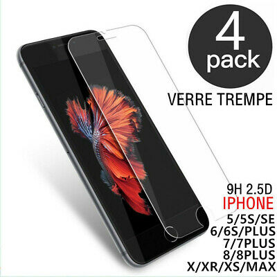 Lot-4 Film verre trempé protection écran 9H pour iPhone 8/7/6S/5S/SE/XR/XS/MAS