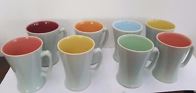 Set of Eight Lovatts Stoneware Harlequin Coffee Mugs / Cups