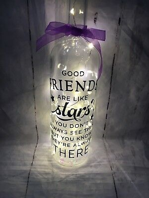 Beautiful Light Up Wine Bottle &  friends Quote With Iridescent Stars In Bottle